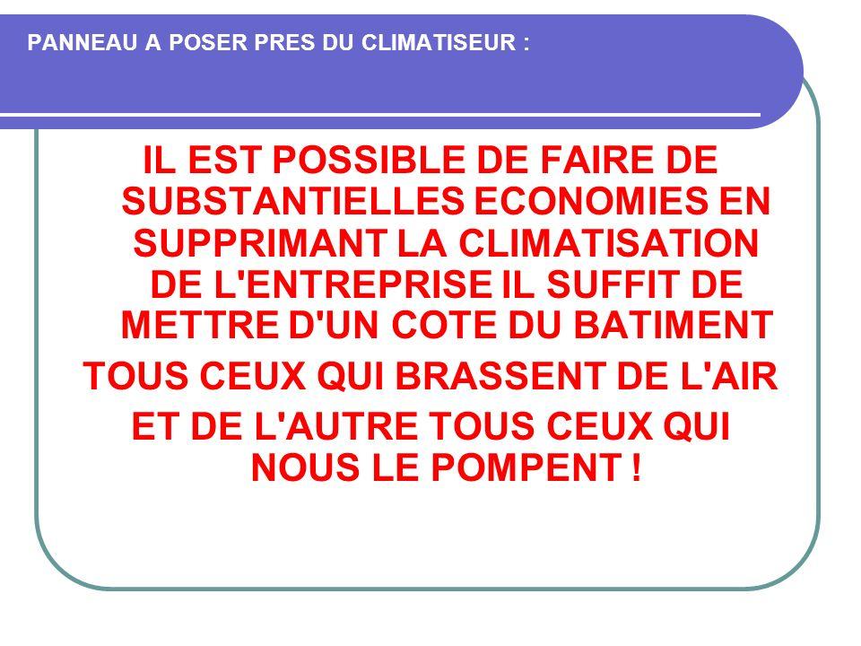 PANNEAU A POSER PRES DU CLIMATISEUR : IL EST POSSIBLE DE FAIRE DE SUBSTANTIELLES ECONOMIES EN SUPPRIMANT LA CLIMATISATION DE L'ENTREPRISE IL SUFFIT DE