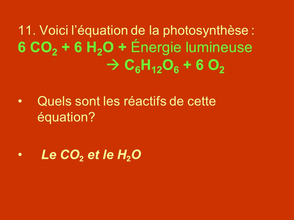 11. Voici léquation de la photosynthèse : 6 CO 2 + 6 H 2 O + Énergie lumineuse C 6 H 12 O 6 + 6 O 2 Quels sont les réactifs de cette équation? Le CO 2
