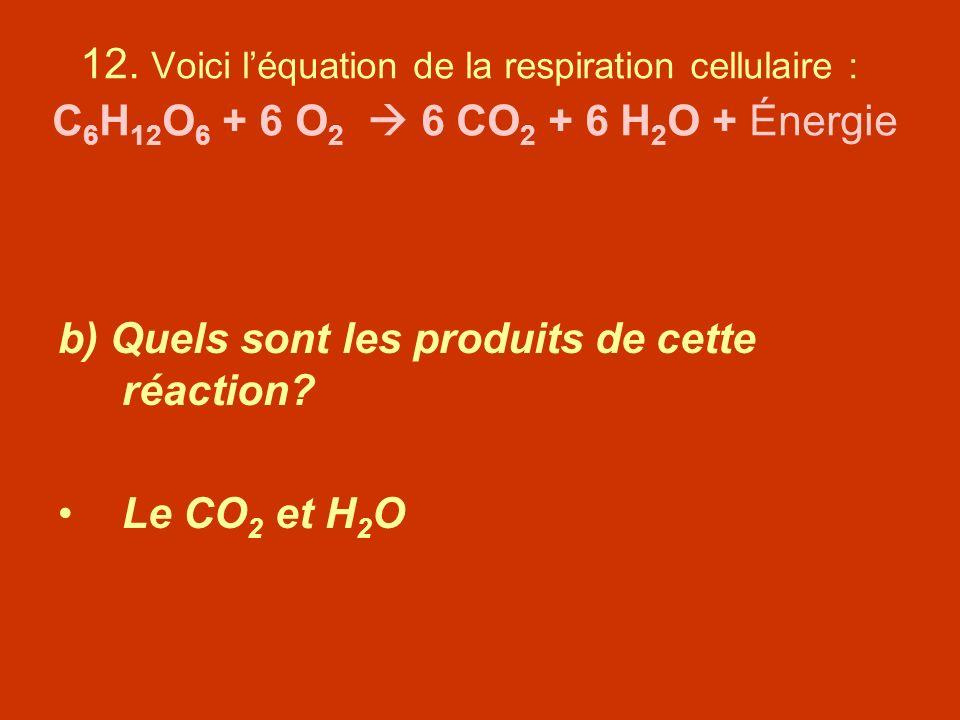 12. Voici léquation de la respiration cellulaire : C 6 H 12 O 6 + 6 O 2 6 CO 2 + 6 H 2 O + Énergie b) Quels sont les produits de cette réaction? Le CO