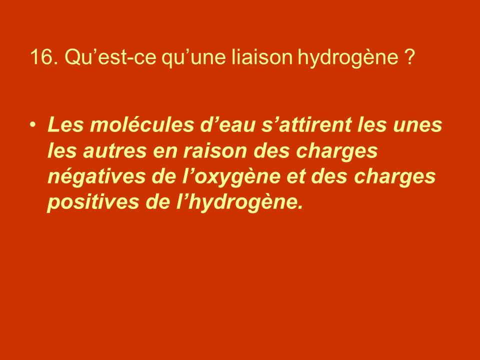 16. Quest-ce quune liaison hydrogène ? Les molécules deau sattirent les unes les autres en raison des charges négatives de loxygène et des charges pos