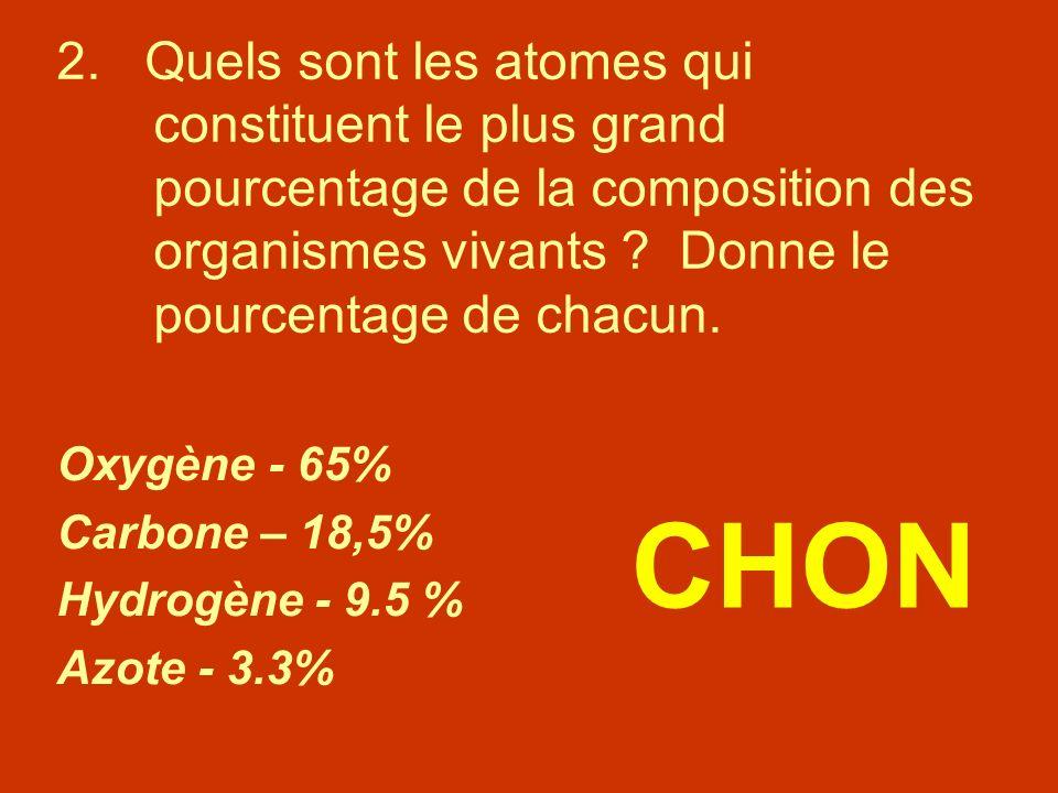 2. Quels sont les atomes qui constituent le plus grand pourcentage de la composition des organismes vivants ? Donne le pourcentage de chacun. Oxygène