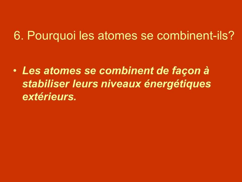 6. Pourquoi les atomes se combinent-ils? Les atomes se combinent de façon à stabiliser leurs niveaux énergétiques extérieurs.