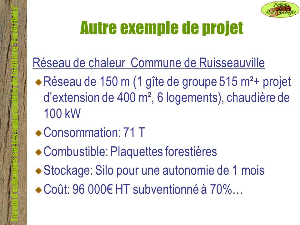 Forum déchanges sur les opportunités de la filière Forêt/bois Autre exemple de projet Réseau de chaleur Commune de Ruisseauville Réseau de 150 m (1 gî