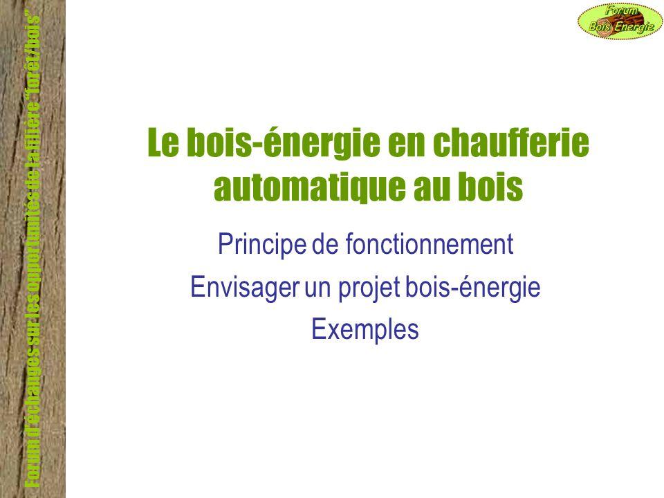 Forum déchanges sur les opportunités de la filière Forêt/bois Le bois-énergie en chaufferie automatique au bois Principe de fonctionnement Envisager u