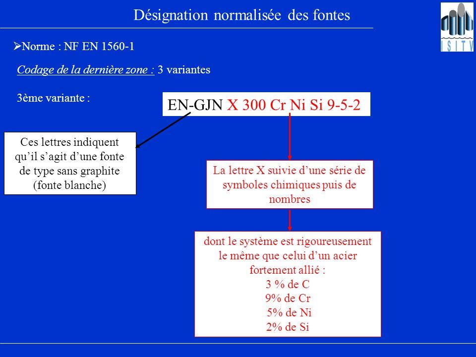 Désignation normalisée des fontes Norme : NF EN 1560-1 Codage de la dernière zone : 3 variantes EN-GJN X 300 Cr Ni Si 9-5-2 3ème variante : Ces lettre