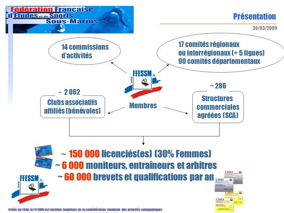 Présentation Créée en 1948, la FFESSM est membre fondateur de la confédération mondiale des activités subaquatiques 30/03/2009 ~ 150 000 licenciés(es)