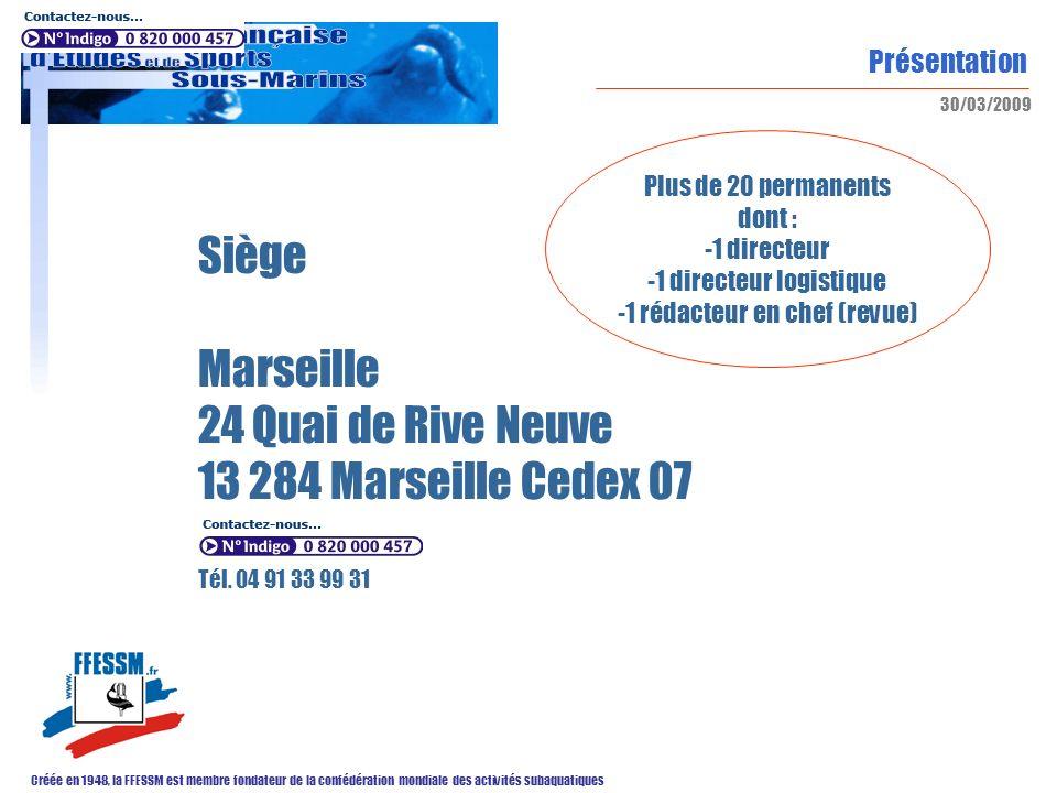 Présentation Créée en 1948, la FFESSM est membre fondateur de la confédération mondiale des activités subaquatiques 30/03/2009 Siège Marseille 24 Quai