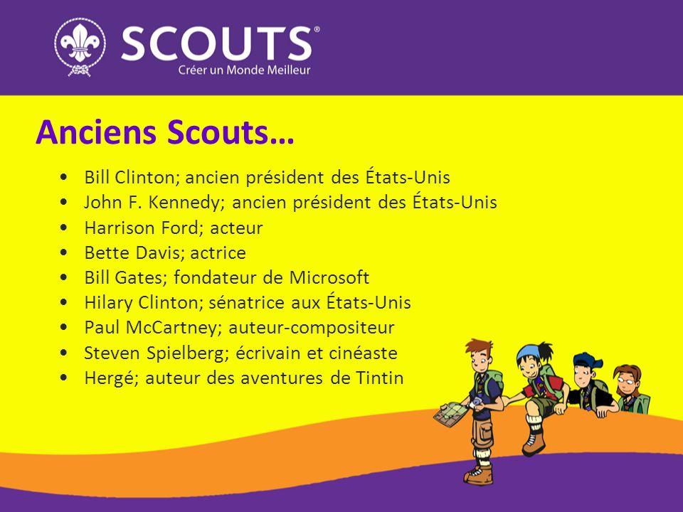 Anciens Scouts… Bill Clinton; ancien président des États-Unis John F. Kennedy; ancien président des États-Unis Harrison Ford; acteur Bette Davis; actr