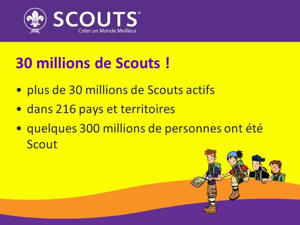 30 millions de Scouts ! plus de 30 millions de Scouts actifs dans 216 pays et territoires quelques 300 millions de personnes ont été Scout