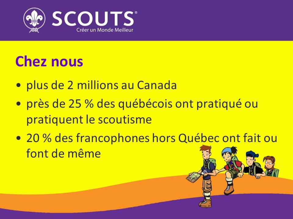 Chez nous plus de 2 millions au Canada près de 25 % des québécois ont pratiqué ou pratiquent le scoutisme 20 % des francophones hors Québec ont fait ou font de même