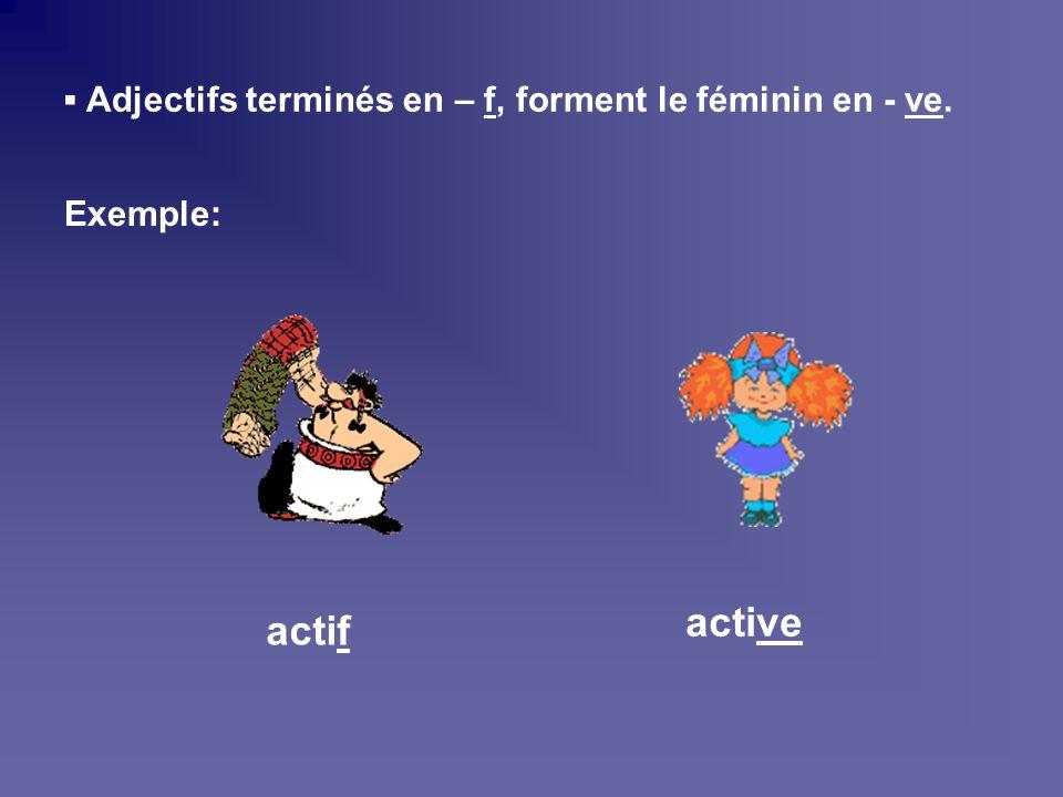 Adjectifs terminés en – eux/eur, forment le féminin en - euse. Exemple: studieuxstudieuse