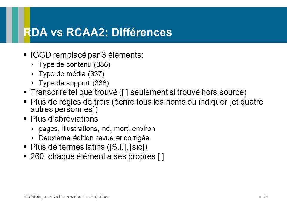 Bibliothèque et Archives nationales du Québec 10 RDA vs RCAA2: Différences IGGD remplacé par 3 éléments: Type de contenu (336) Type de média (337) Typ