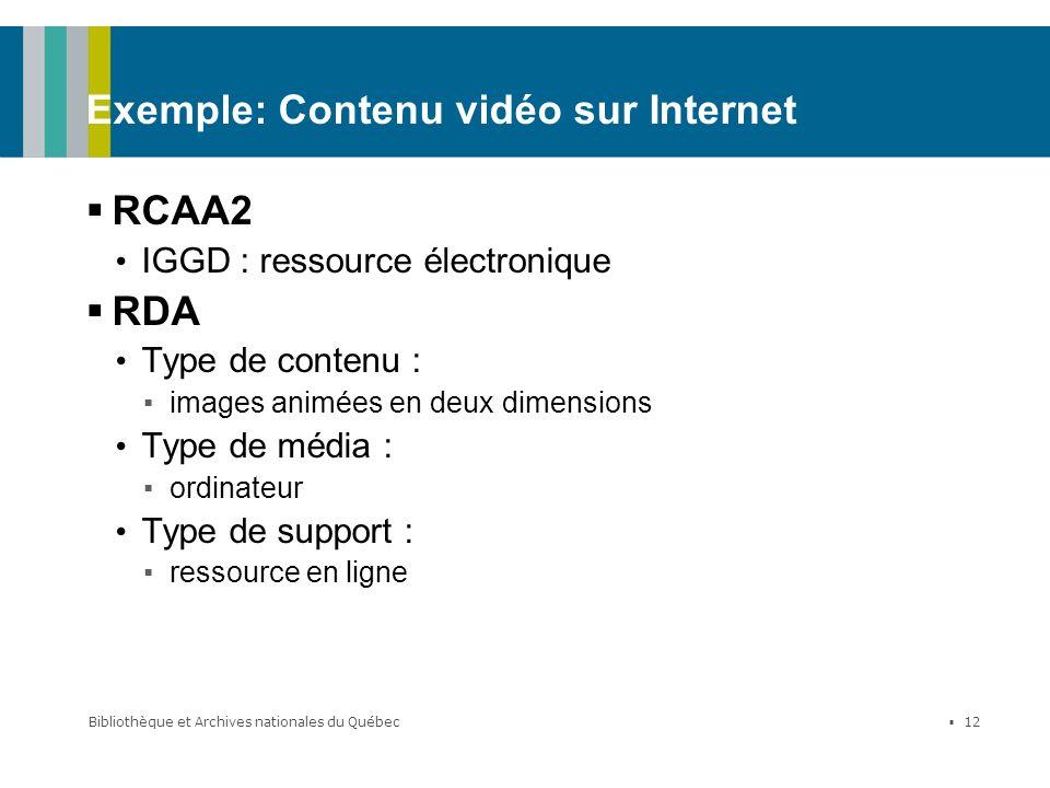 Bibliothèque et Archives nationales du Québec 12 Exemple: Contenu vidéo sur Internet RCAA2 IGGD : ressource électronique RDA Type de contenu : images