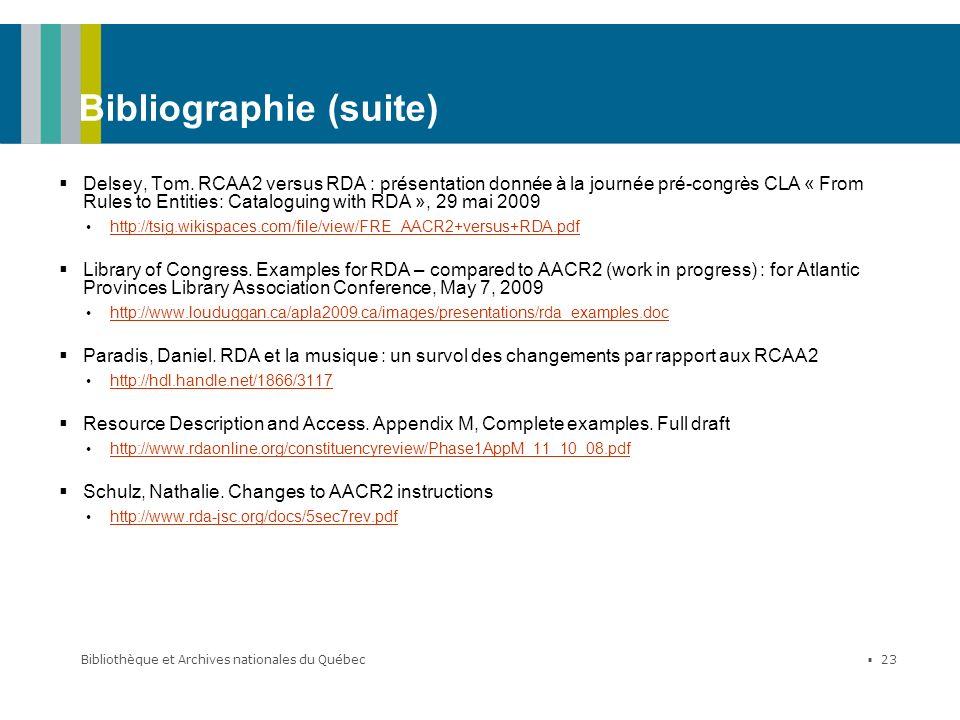Bibliothèque et Archives nationales du Québec 23 Bibliographie (suite) Delsey, Tom. RCAA2 versus RDA : présentation donnée à la journée pré-congrès CL