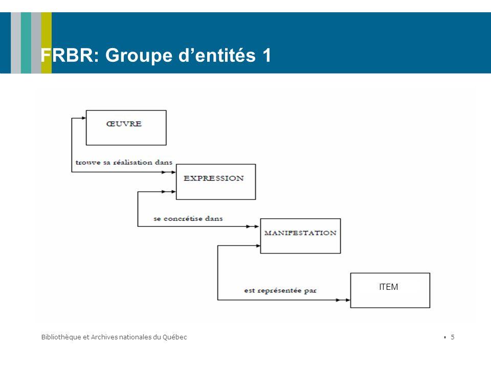 Bibliothèque et Archives nationales du Québec 5 FRBR: Groupe dentités 1 ITEM