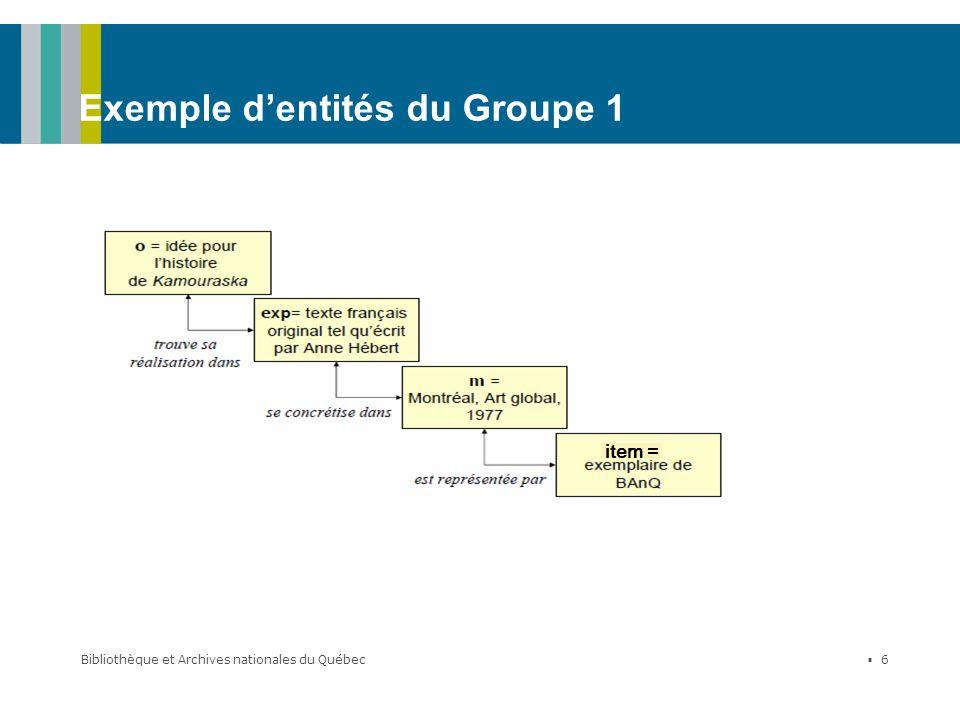 Bibliothèque et Archives nationales du Québec 6 Exemple dentités du Groupe 1 item =