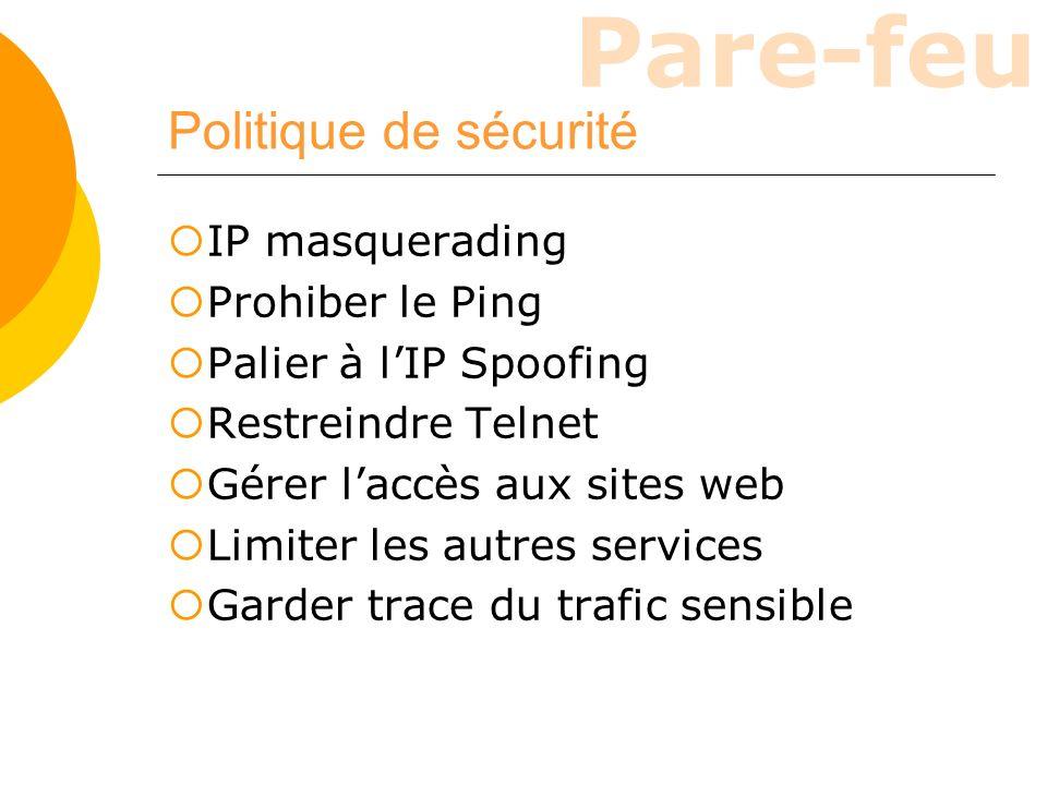 Pare-feu Politique de sécurité IP masquerading Prohiber le Ping Palier à lIP Spoofing Restreindre Telnet Gérer laccès aux sites web Limiter les autres