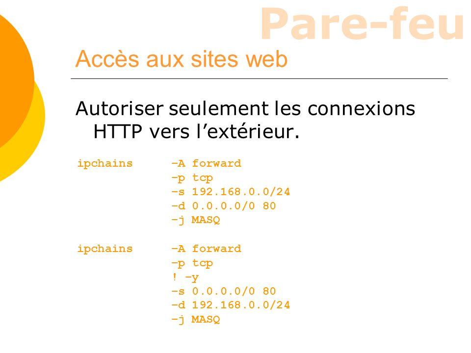 Pare-feu Accès aux sites web Autoriser seulement les connexions HTTP vers lextérieur. ipchains –A forward –p tcp ! –y –s 0.0.0.0/0 80 –d 192.168.0.0/2