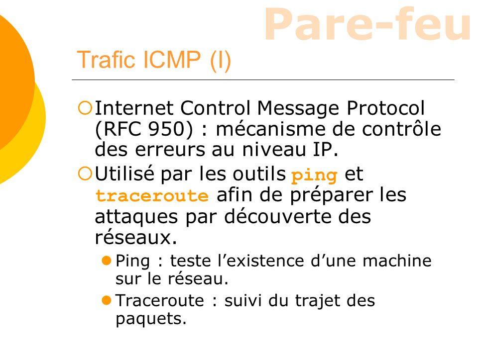 Pare-feu Trafic ICMP (I) Internet Control Message Protocol (RFC 950) : mécanisme de contrôle des erreurs au niveau IP. Utilisé par les outils ping et