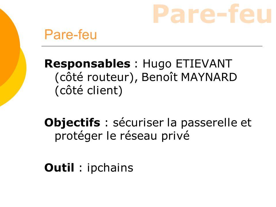 Responsables : Hugo ETIEVANT (côté routeur), Benoît MAYNARD (côté client) Objectifs : sécuriser la passerelle et protéger le réseau privé Outil : ipch