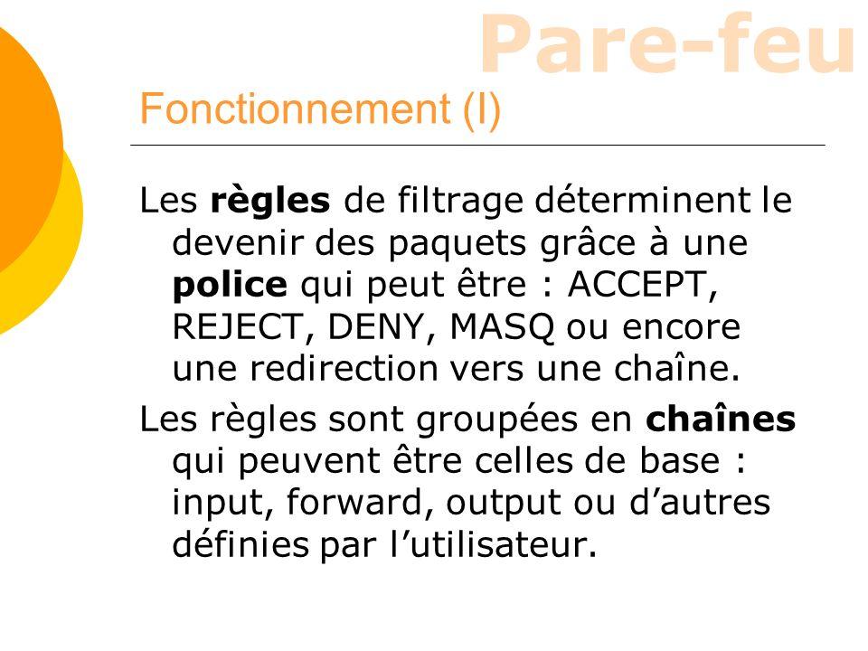 Pare-feu Fonctionnement (I) Les règles de filtrage déterminent le devenir des paquets grâce à une police qui peut être : ACCEPT, REJECT, DENY, MASQ ou