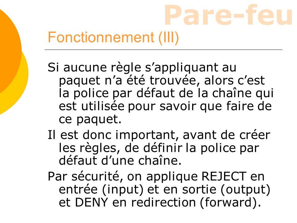 Pare-feu Fonctionnement (III) Si aucune règle sappliquant au paquet na été trouvée, alors cest la police par défaut de la chaîne qui est utilisée pour