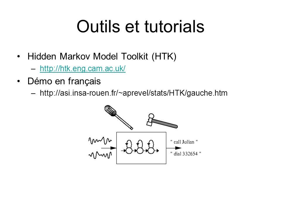 Outils et tutorials Hidden Markov Model Toolkit (HTK) –http://htk.eng.cam.ac.uk/http://htk.eng.cam.ac.uk/ Démo en français –http://asi.insa-rouen.fr/~