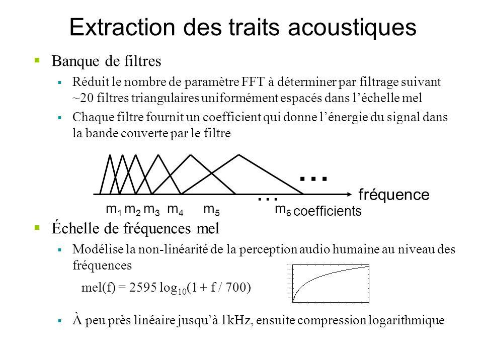 Extraction des traits acoustiques Banque de filtres Réduit le nombre de paramètre FFT à déterminer par filtrage suivant ~20 filtres triangulaires unif