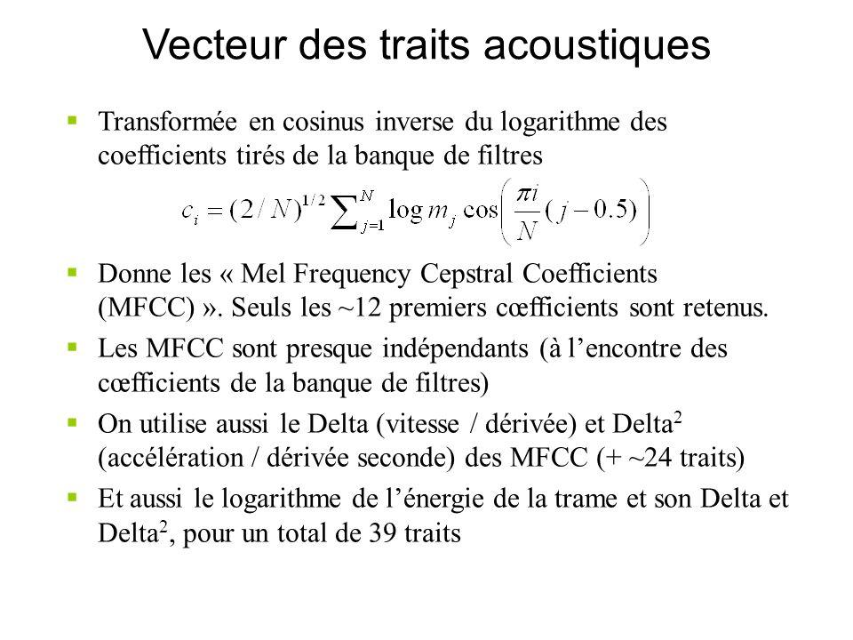 Vecteur des traits acoustiques Transformée en cosinus inverse du logarithme des coefficients tirés de la banque de filtres Donne les « Mel Frequency C