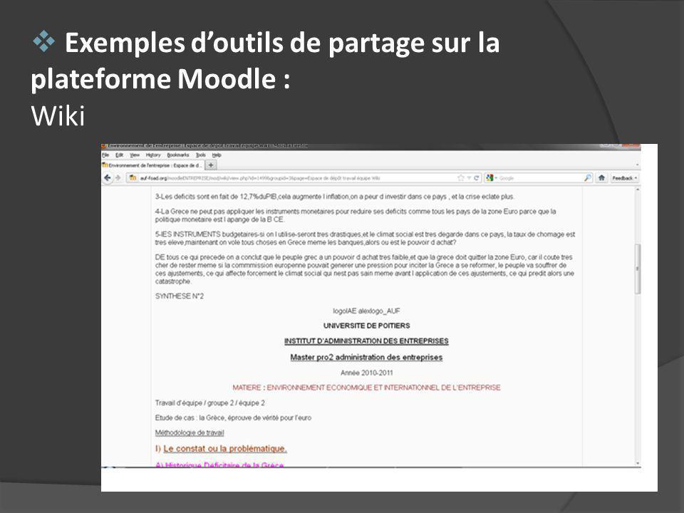 Exemples doutils de partage sur la plateforme Moodle : Wiki