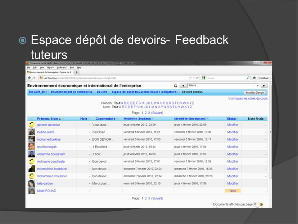 Espace dépôt de devoirs- Feedback tuteurs