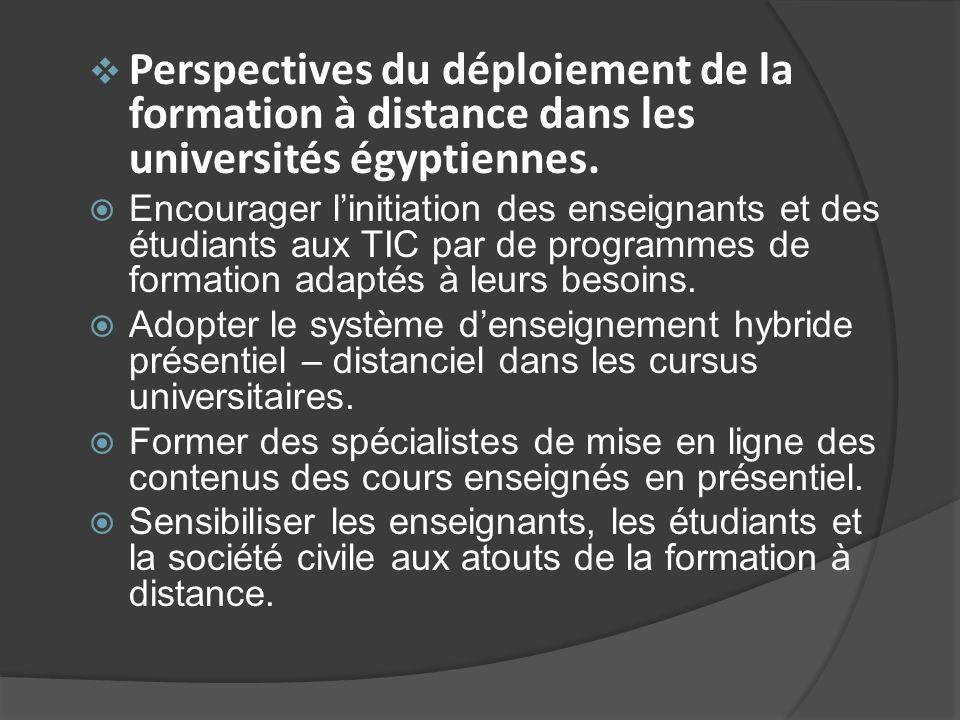 Perspectives du déploiement de la formation à distance dans les universités égyptiennes.