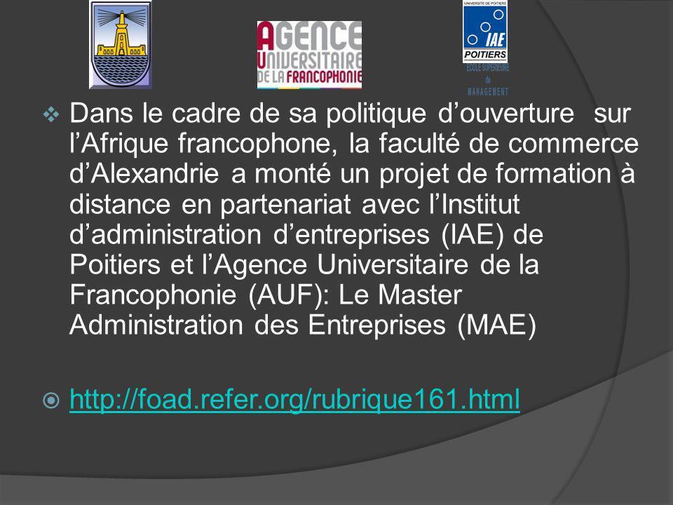 Dans le cadre de sa politique douverture sur lAfrique francophone, la faculté de commerce dAlexandrie a monté un projet de formation à distance en partenariat avec lInstitut dadministration dentreprises (IAE) de Poitiers et lAgence Universitaire de la Francophonie (AUF): Le Master Administration des Entreprises (MAE) http://foad.refer.org/rubrique161.html