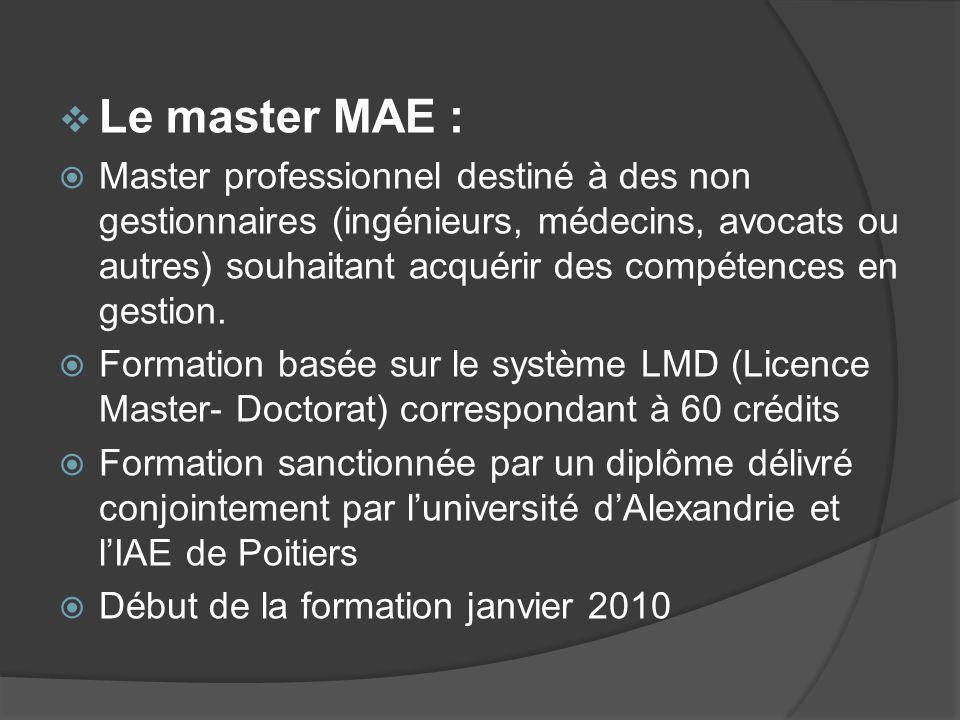 Le master MAE : Master professionnel destiné à des non gestionnaires (ingénieurs, médecins, avocats ou autres) souhaitant acquérir des compétences en gestion.