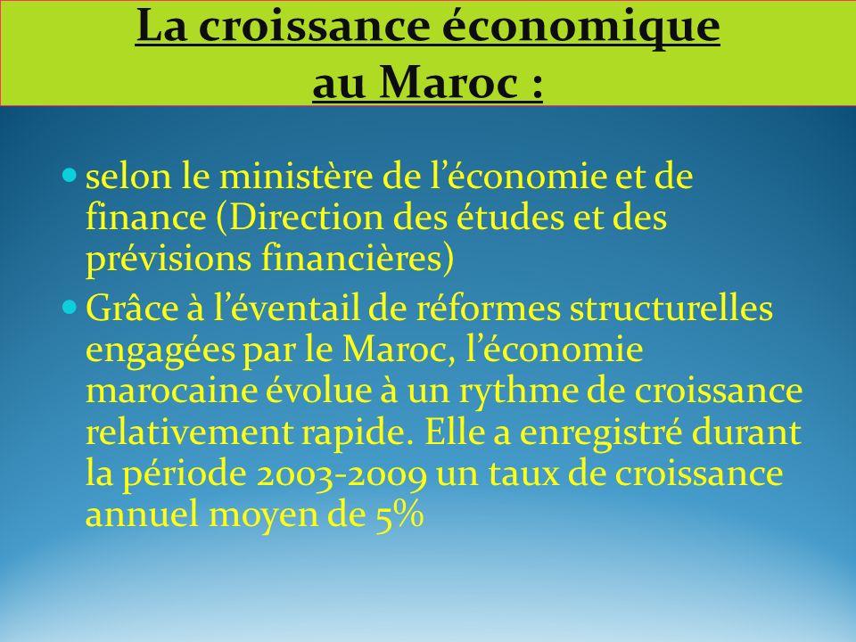La croissance économique au Maroc : selon le ministère de léconomie et de finance (Direction des études et des prévisions financières) Grâce à léventa