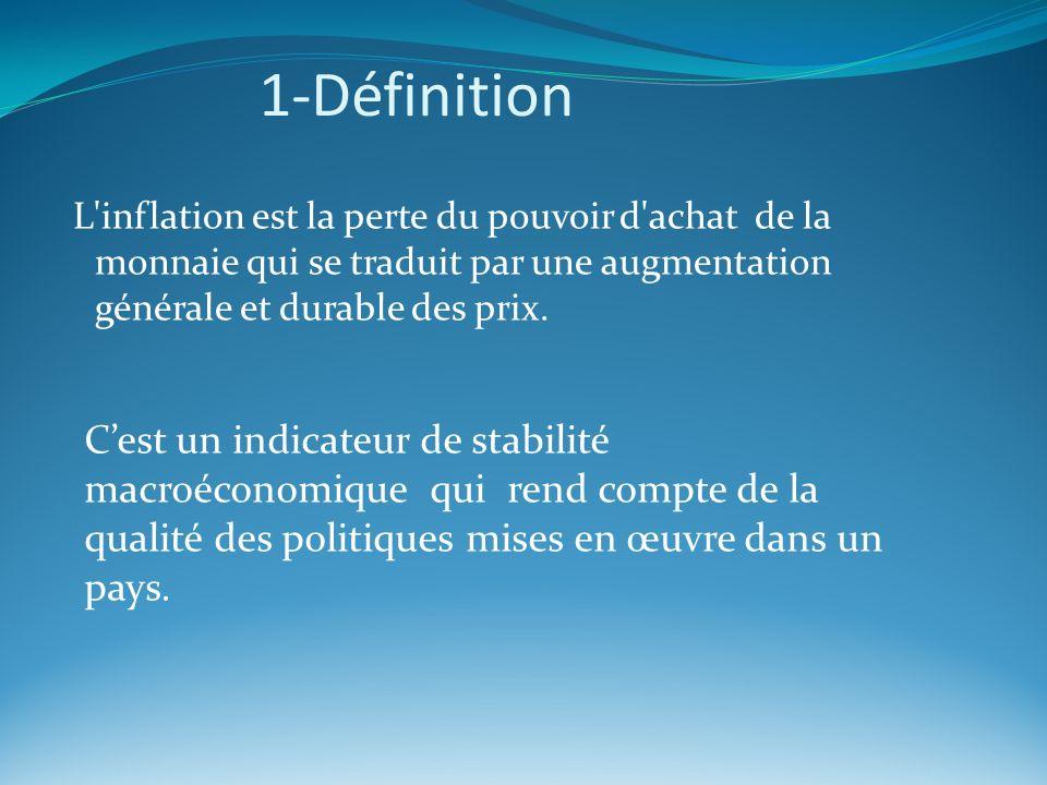 1-Définition L'inflation est la perte du pouvoir d'achat de la monnaie qui se traduit par une augmentation générale et durable des prix. Cest un indic