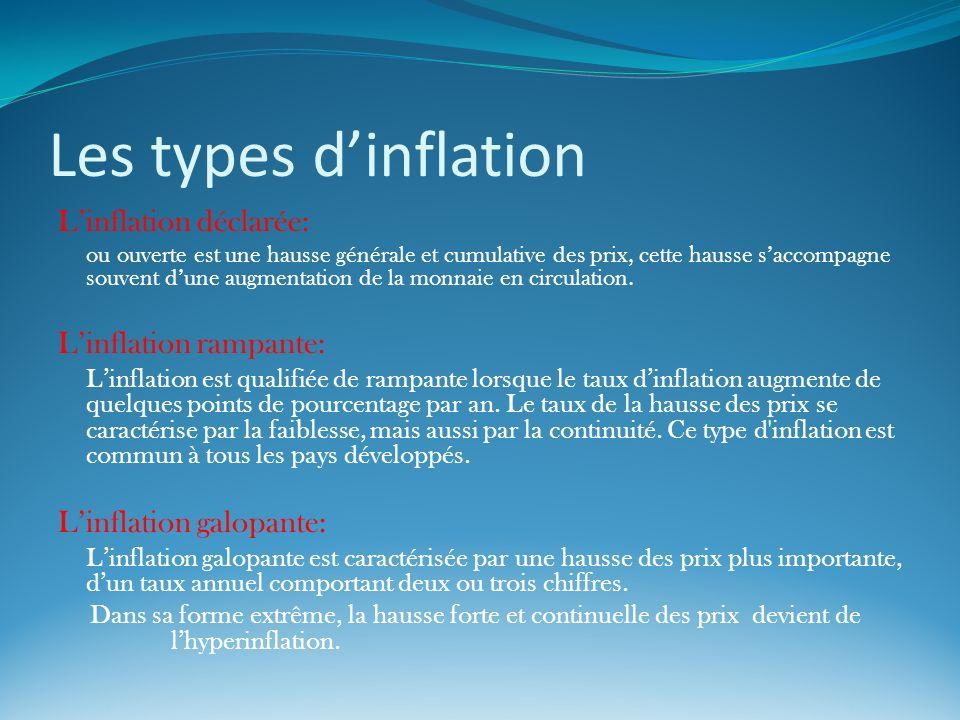 Les types dinflation Linflation déclarée: ou ouverte est une hausse générale et cumulative des prix, cette hausse saccompagne souvent dune augmentatio