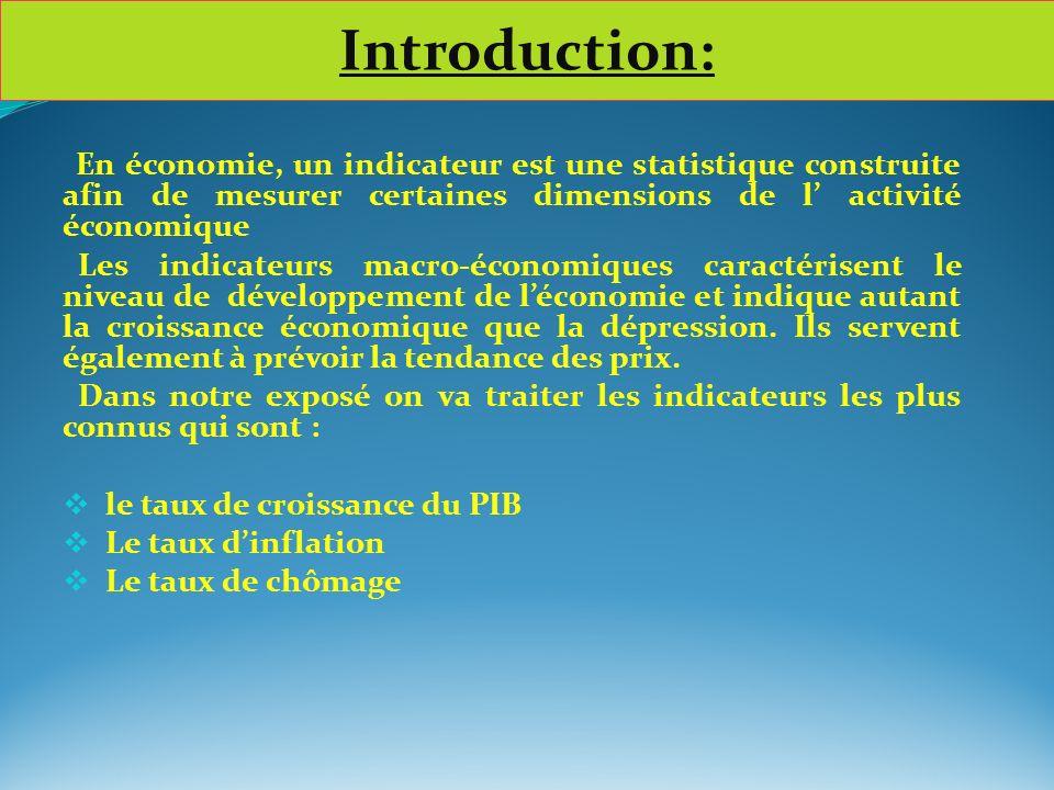 En économie, un indicateur est une statistique construite afin de mesurer certaines dimensions de l activité économique Les indicateurs macro-économiq