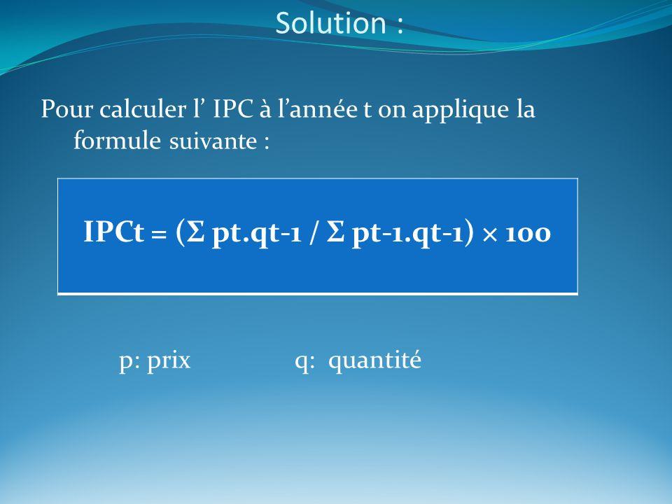 Solution : Pour calculer l IPC à lannée t on applique la formule suivante : p: prix q: quantité IPCt = (Σ pt.qt-1 / Σ pt-1.qt-1) × 100