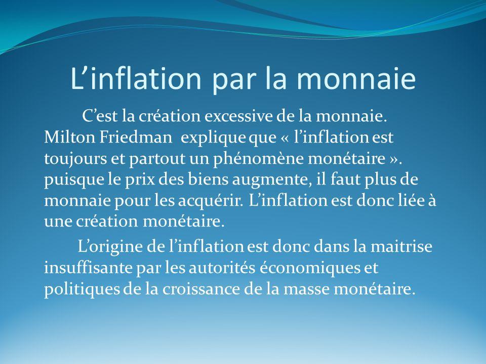 Linflation par la monnaie Cest la création excessive de la monnaie. Milton Friedman explique que « linflation est toujours et partout un phénomène mon