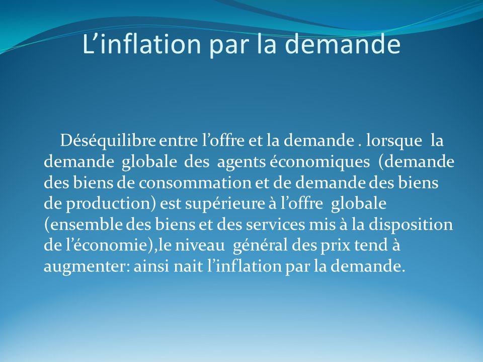 Linflation par la demande Déséquilibre entre loffre et la demande. lorsque la demande globale des agents économiques (demande des biens de consommatio