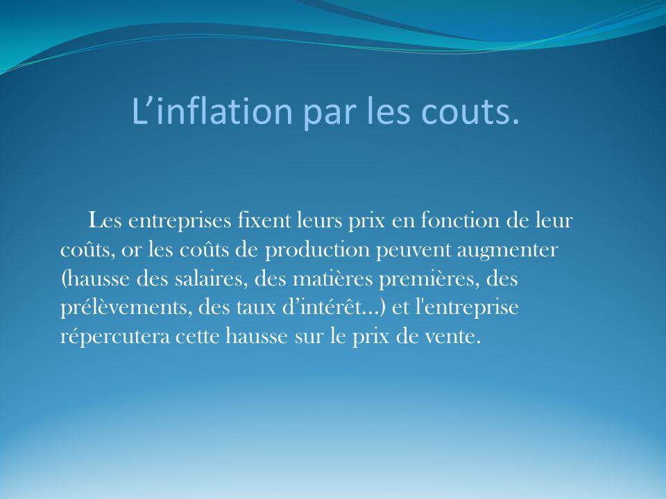 Linflation par les couts. Les entreprises fixent leurs prix en fonction de leur coûts, or les coûts de production peuvent augmenter (hausse des salair