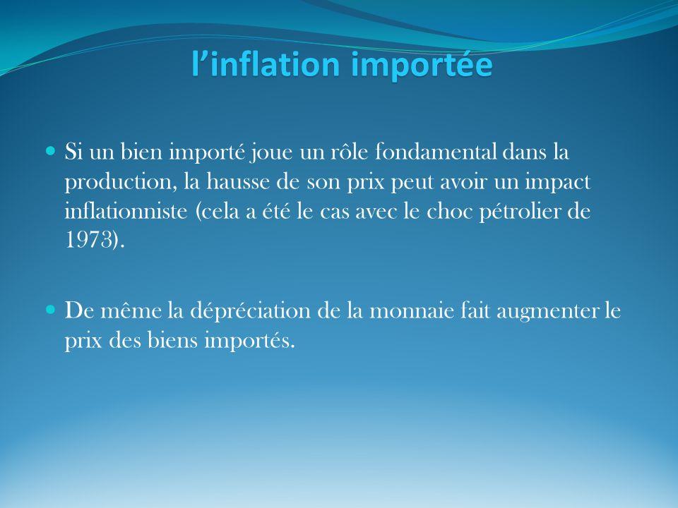 linflation importée Si un bien importé joue un rôle fondamental dans la production, la hausse de son prix peut avoir un impact inflationniste (cela a
