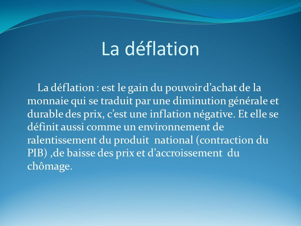La déflation La déflation : est le gain du pouvoir dachat de la monnaie qui se traduit par une diminution générale et durable des prix, cest une infla