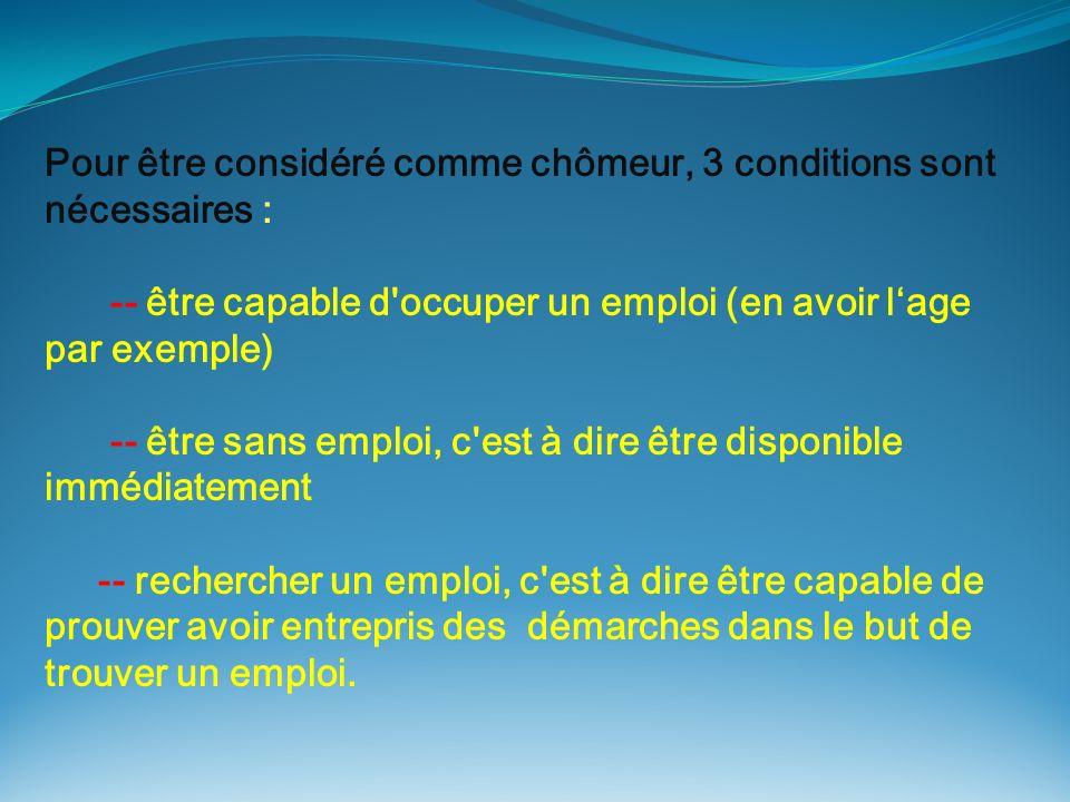 Pour être considéré comme chômeur, 3 conditions sont nécessaires : -- être capable d'occuper un emploi (en avoir lage par exemple) -- être sans emploi