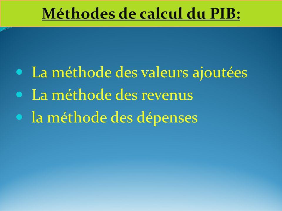 Méthodes de calcul du PIB: La méthode des valeurs ajoutées La méthode des revenus la méthode des dépenses