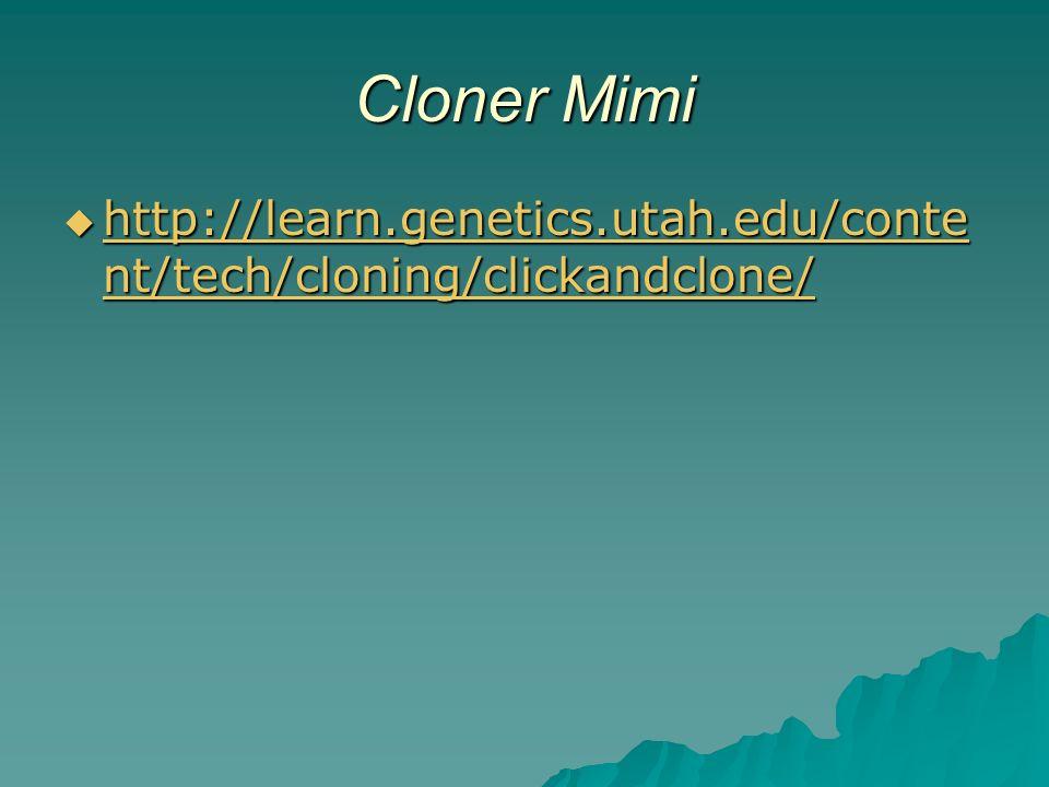 Cloner Mimi http://learn.genetics.utah.edu/conte nt/tech/cloning/clickandclone/ http://learn.genetics.utah.edu/conte nt/tech/cloning/clickandclone/ http://learn.genetics.utah.edu/conte nt/tech/cloning/clickandclone/ http://learn.genetics.utah.edu/conte nt/tech/cloning/clickandclone/