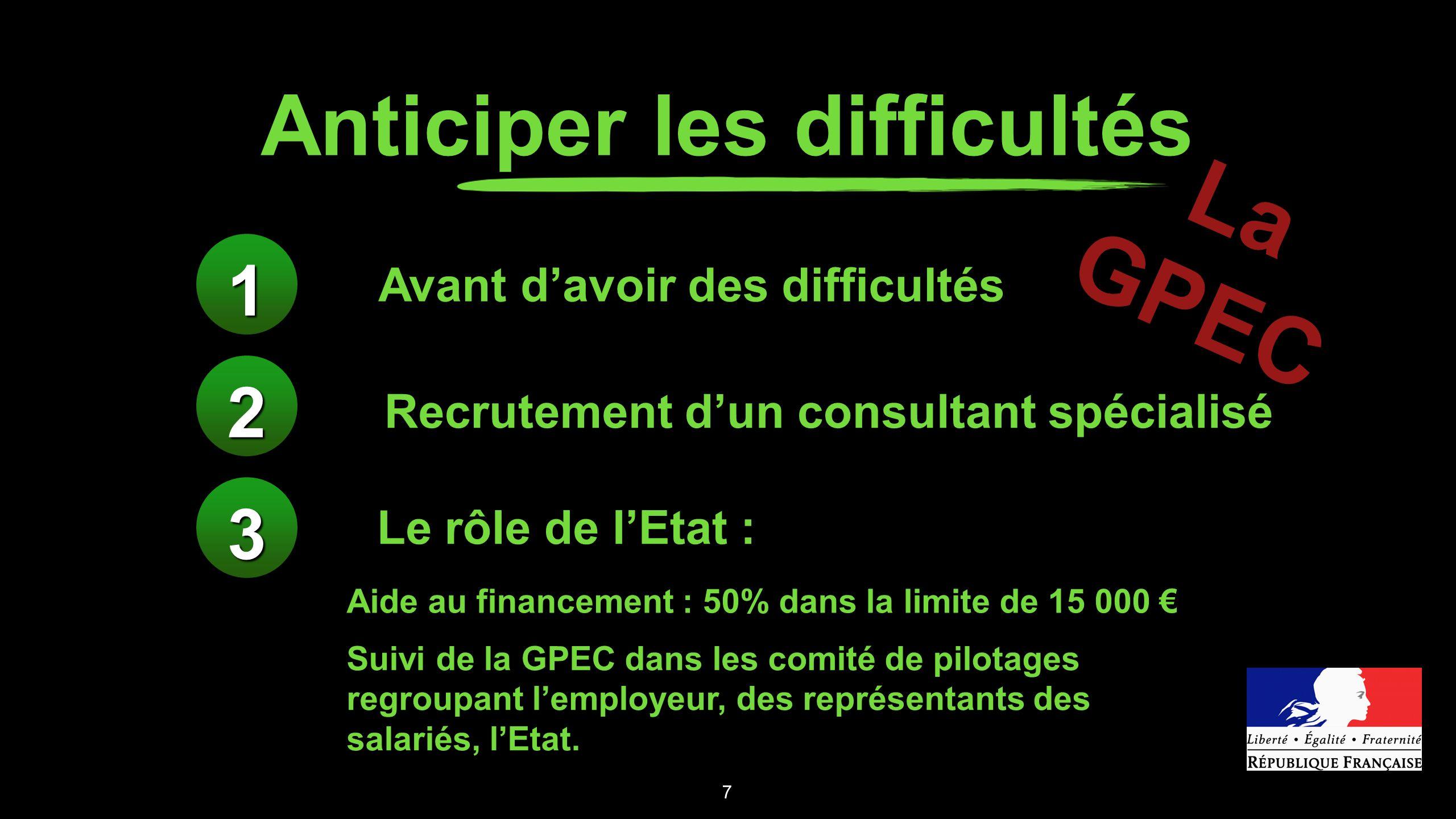 Anticiper les difficultés 7 Avant davoir des difficultés Recrutement dun consultant spécialisé Le rôle de lEtat : Aide au financement : 50% dans la li