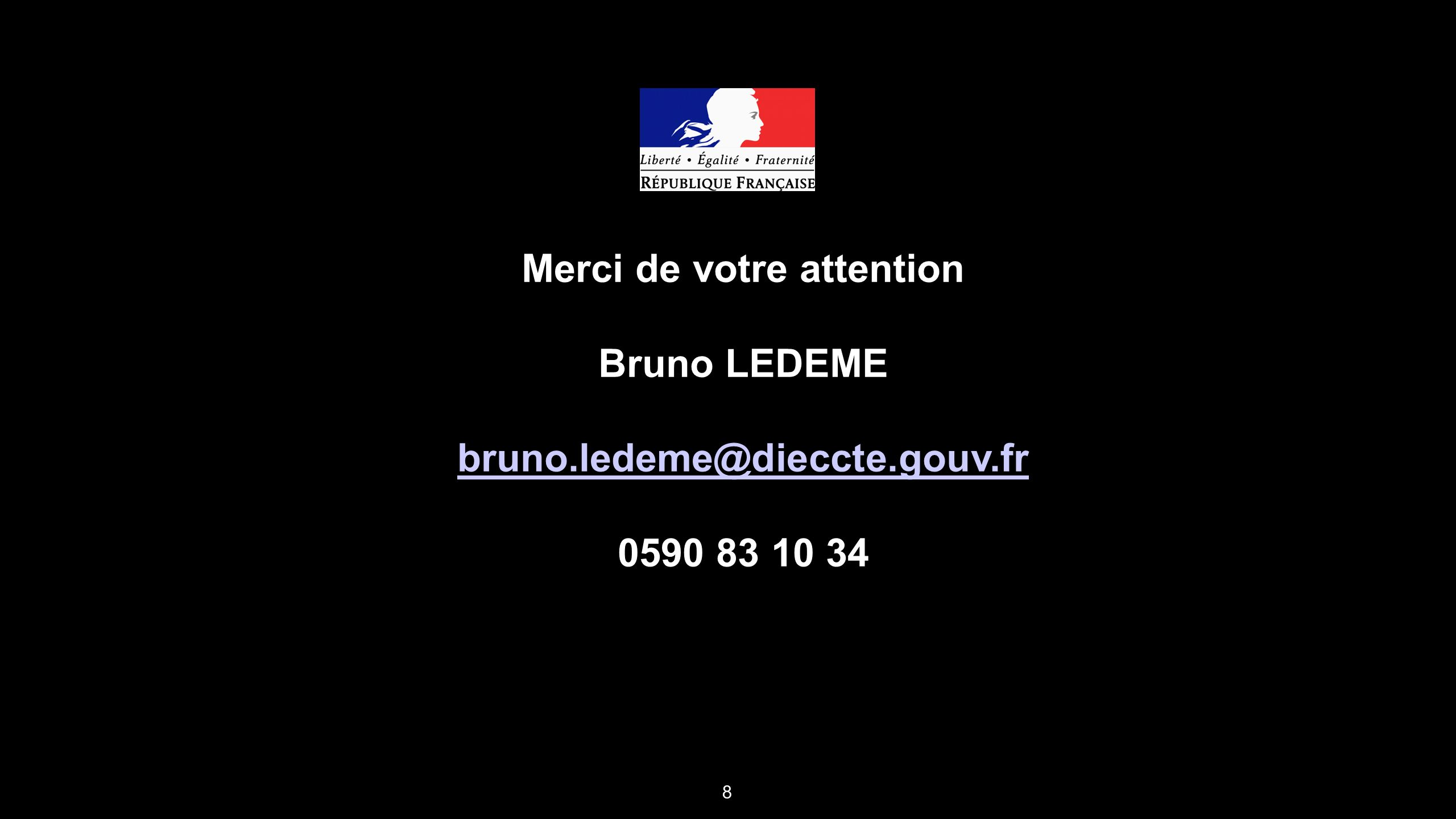8 Merci de votre attention Bruno LEDEME bruno.ledeme@dieccte.gouv.fr 0590 83 10 34