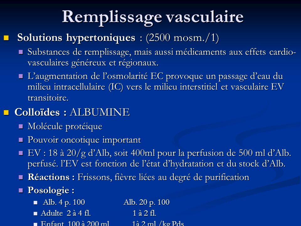 Remplissage vasculaire Solutions hypertoniques : (2500 mosm./1) Solutions hypertoniques : (2500 mosm./1) Substances de remplissage, mais aussi médicam